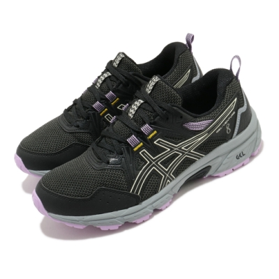 Asics 慢跑鞋 Gel Venture 8 野跑鞋 女鞋 亞瑟士 避震 緩衝 高抓地力 登山 黑 紫 1012A708002