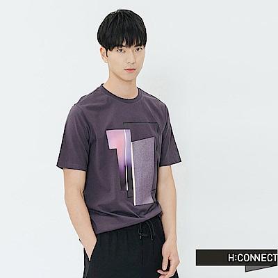 H:CONNECT 韓國品牌 男裝-光暈幾何圖印T-shirt-灰