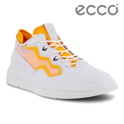 ECCO SOFT X W 純色亮眼網面拼接休閒鞋 女鞋 白色/芬達黃