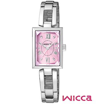 CITIZEN wicca法式優雅甜心腕錶/銀x粉面/BE1-011-91