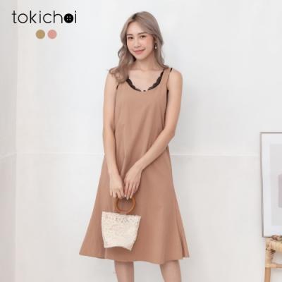 東京著衣 可愛迷人露美背後綁帶造型吊帶裙-S.M.L(共二色)