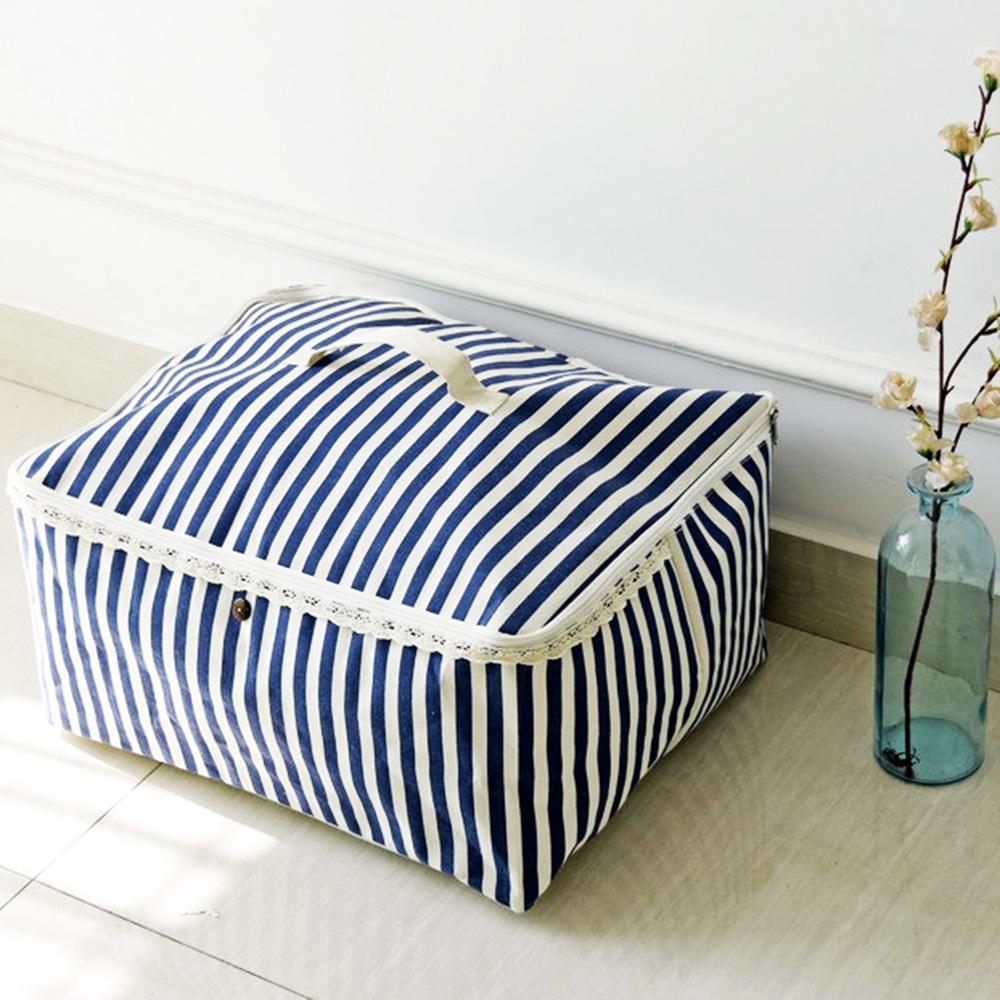 【收納職人】衣物棉被大容量防水防塵袋收納袋收納箱50L(藍白條)
