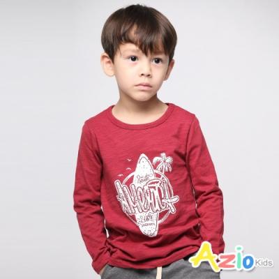 Azio Kids 男童 上衣 衝浪板椰子樹英文印花上衣 (酒紅)