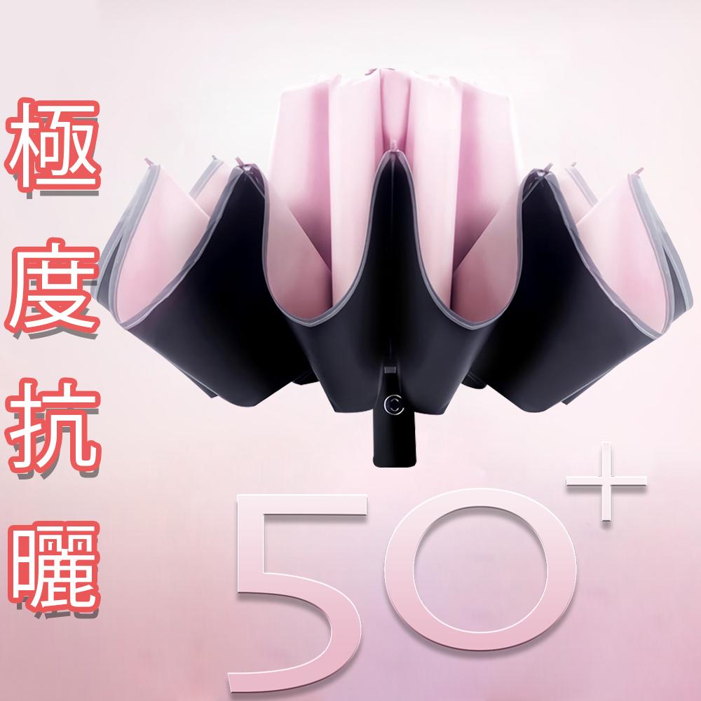 Lufy極度防曬 UPF50+體感降溫 安全反光條反向傘 超輕十骨防風自動晴雨傘 [限時下殺]