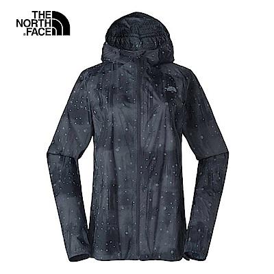 The North Face北面女款黑色印花透氣防水衝鋒衣|3LLE7EG