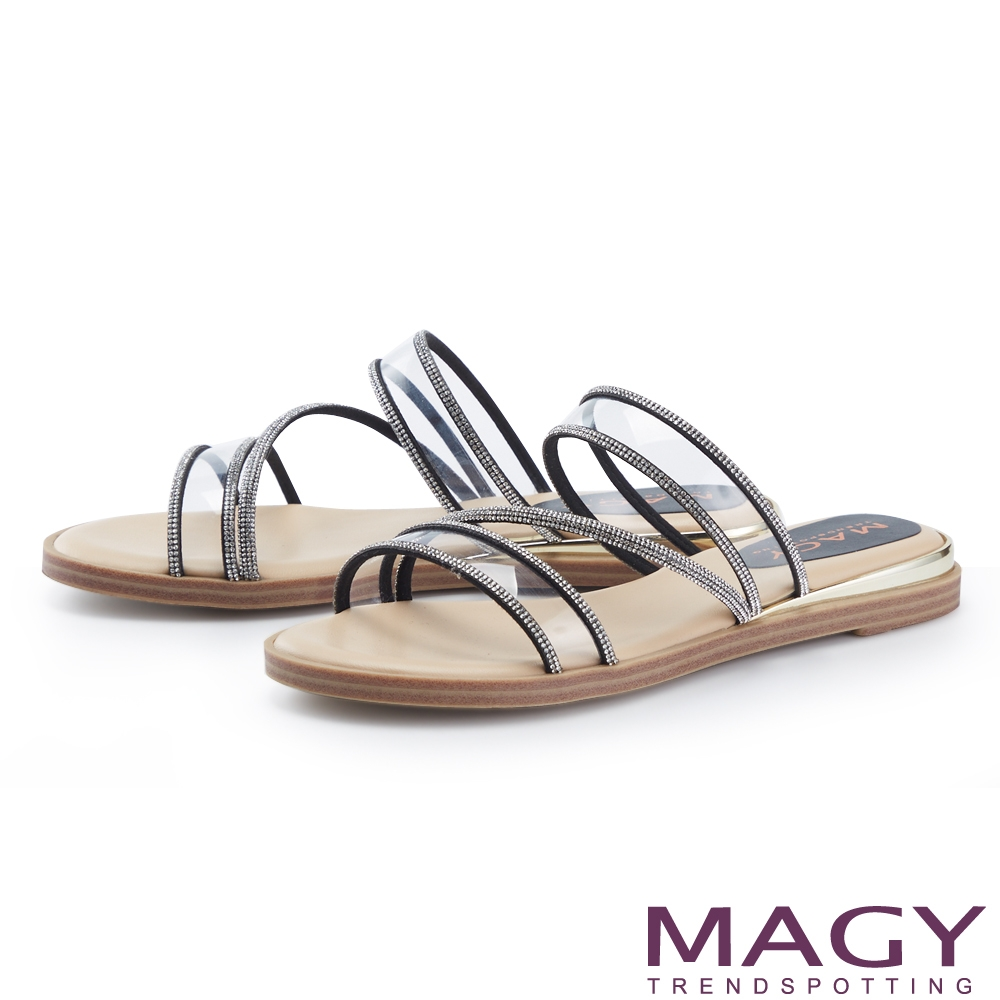 MAGY 鑽飾滾邊透明片平底 女 拖鞋 黑色