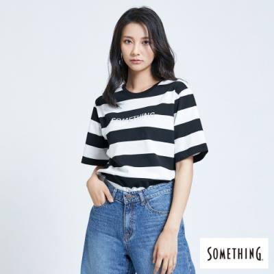 SOMETHING 條紋立體燙箔 短袖T恤-女-黑色