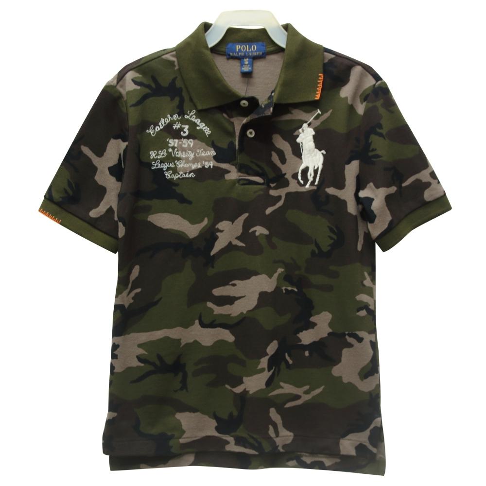 Ralph Lauren 大童大馬短袖POLO衫-迷彩綠