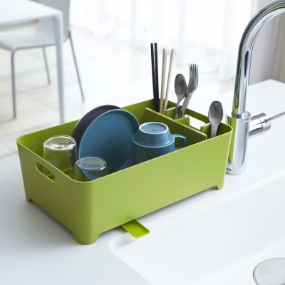 【YAMAZAKI】AQUA洗滌瀝水兩用籃-綠★置物架/多功能收納/廚房用品/居家收納