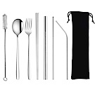 PUSH!餐具用品鍍鈦環保304不鏽鋼吸管餐具8件套裝E135-1(二套組)