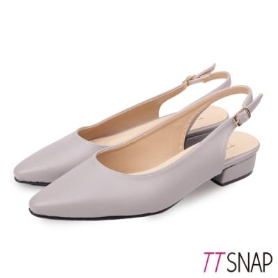 TTSNAP低跟鞋-MIT後跟挖空羊紋尖頭鞋 灰