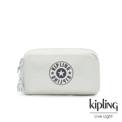 Kipling 質感活躍銀長形化妝包-GLEAM