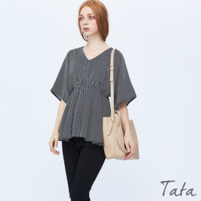 V領縮腰條紋雪紡上衣 共二色 TATA-F