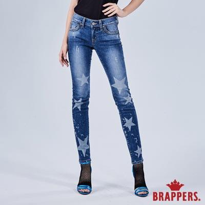 BRAPPERS 女款 新美腳 ROYAL系列-彈性星星雷射窄管褲-藍