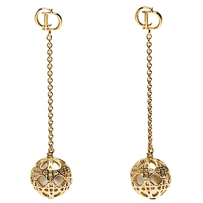 DIOR 經典Secret Cannage系列大小金屬簍空墜式圓珠造型穿式耳環(金)