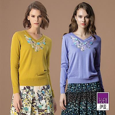 ILEY伊蕾 緞帶花朵刺繡V領針織衣(紫/秋香)