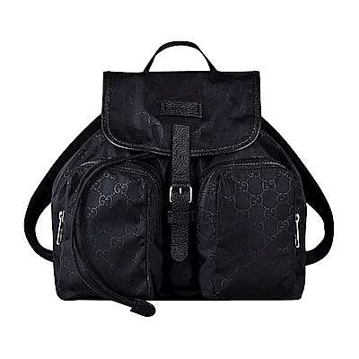 GUCCI經典GG LOGO印花尼龍牛皮陪襯雙口袋釦式翻蓋束口後背包(黑)