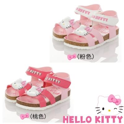 Hello Kitty童鞋 輕量減壓吸震腳床型涼鞋-粉.桃