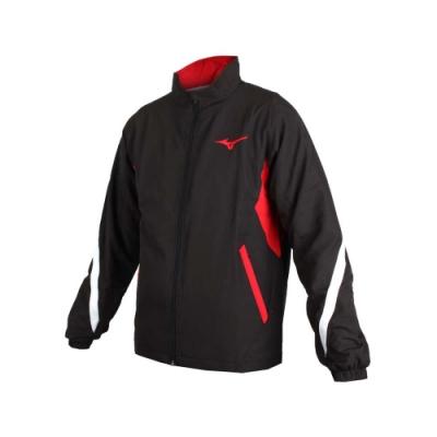 MIZUNO 男平織運動外套-慢跑 路跑 美津濃 立領外套 黑白紅