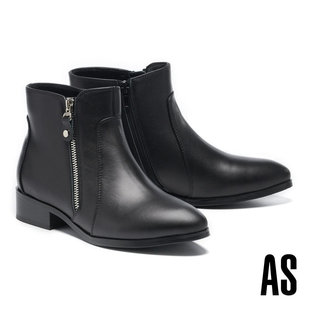 短靴 AS 率性百搭雙側拉鍊造型牛皮低跟短靴-黑