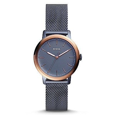 FOSSIL 文青極簡風格灰藍經典米蘭帶腕錶(ES4312)-灰藍/34mm