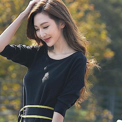 IREAL 附配色滾邊腰帶素色針織洋裝