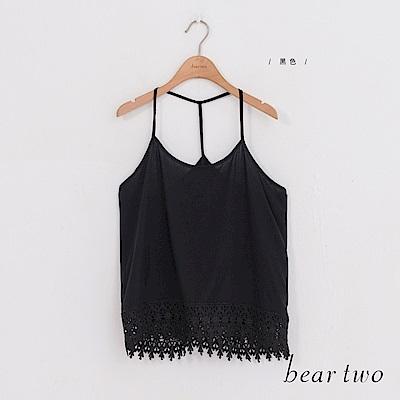 beartwo 性感升級露背細肩背心蕾絲上衣(黑色)