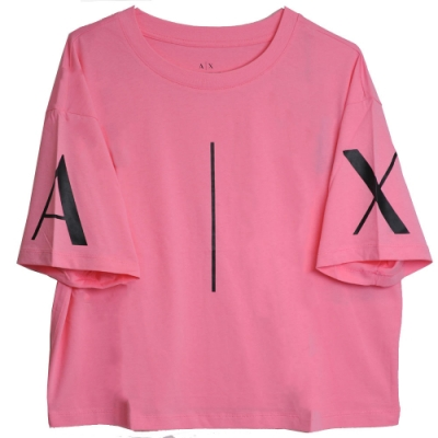 ARMANI EXCHANGE A|X大字母LOGO圖騰圓領寬短版T恤(粉紅系)
