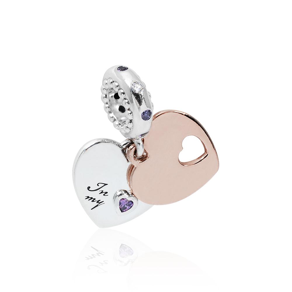 Pandora 潘朵拉 魅力雙心玫瑰金鑲鋯 垂墜純銀墜飾