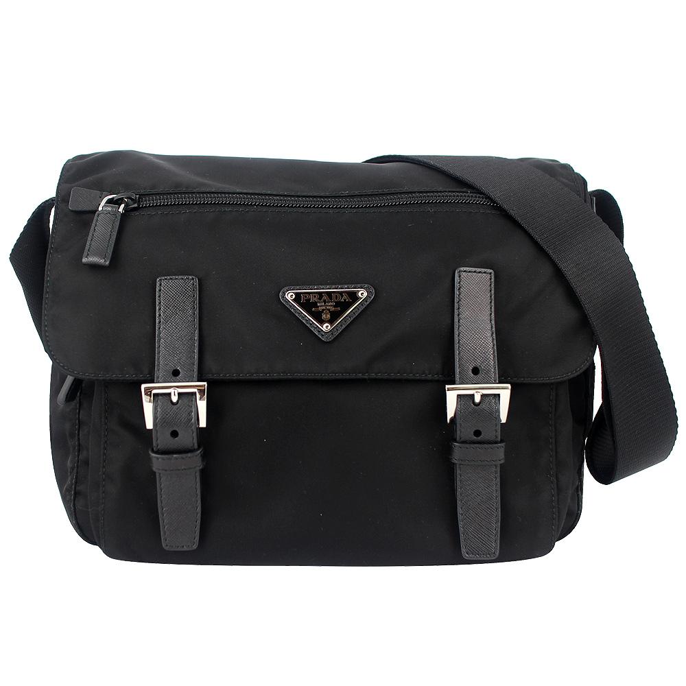 PRADA 黑色經典尼龍皮革飾邊斜背包