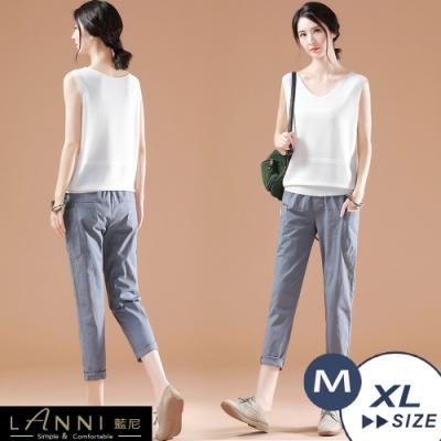 【LANNI 藍尼】韓版大口袋純色休閒褲-灰藍(M-XL)●
