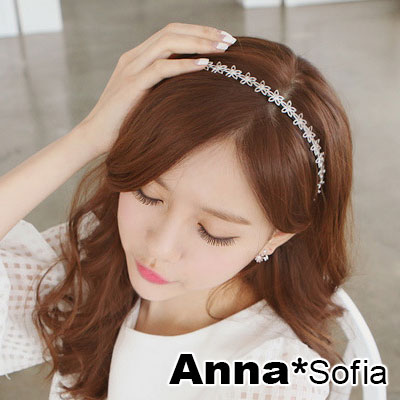 【2件7折】AnnaSofia 名媛氣質綺花 彈性新娘髮飾細髮帶(珠白系)