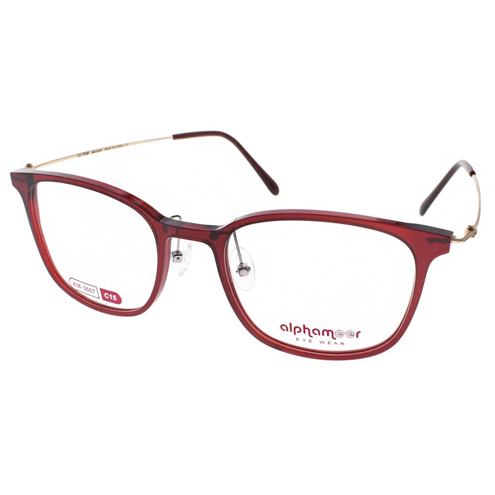 Alphameer光學眼鏡 韓國塑鋼系列/透紅-金#AM3607 C15
