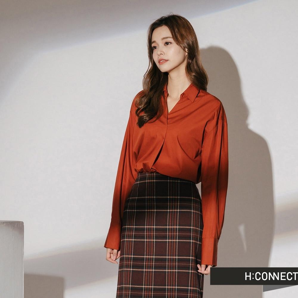 H:CONNECT 韓國品牌 女裝-簡約後排扣襯衫-橘