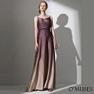OMUSES 編織細肩帶壓褶珠飾漸層長禮服