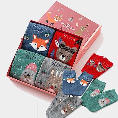 秋冬寶寶中筒卡通童襪4雙組-雪地動物