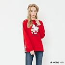 Hang Ten -女裝-Sanrio-可愛圖樣配色格紋圓領上衣-紅