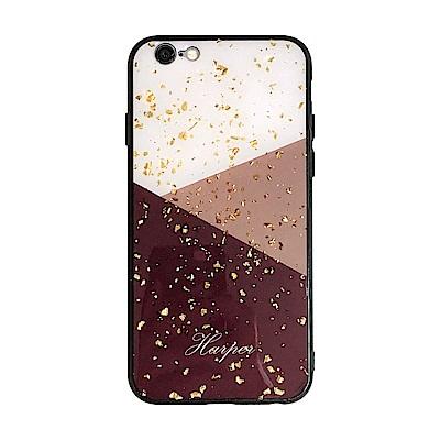 【TOYSELECT】iPhone SE2/7/8 金箔拼接大理石手機殼:酒紅