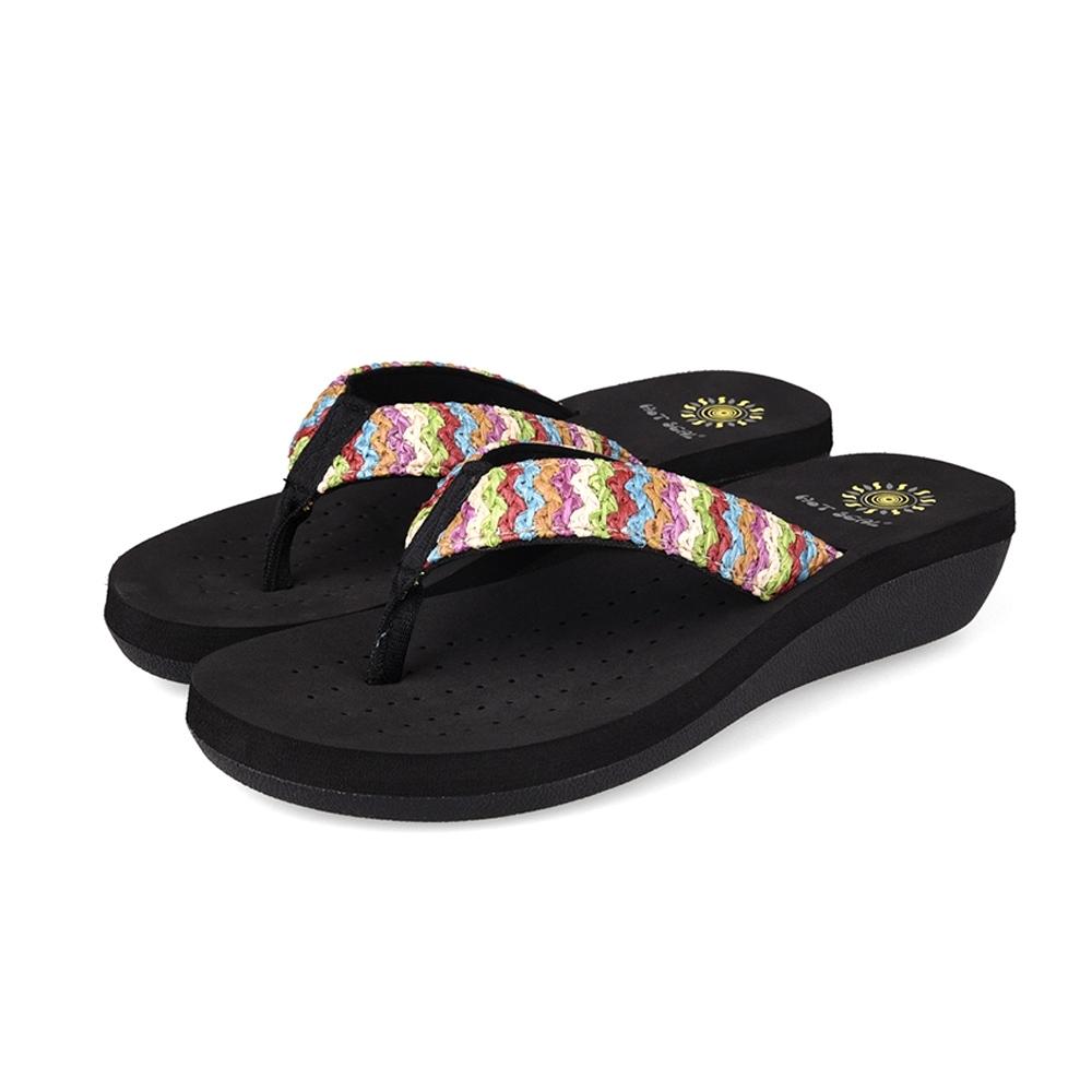 JMS-夏日休閒 風彩色編織夾腳涼拖-黑色