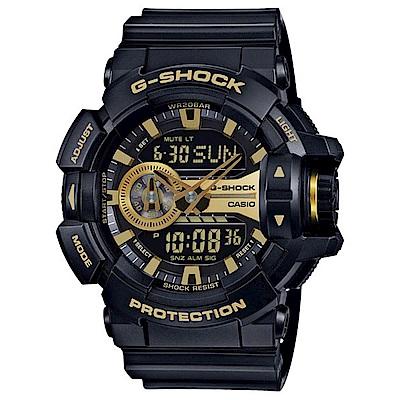 G-SHOCK 超人氣黑金潮流雙顯運動錶(GA-400GB-1A9)-51.9mm