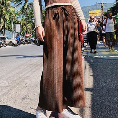 素面針織坑條高腰闊腿褲 (共四色)-Kugi Girl