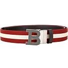 BALLY B BUCKLE B字母釦黑白條紋織帶牛皮腰帶(雙面用/咖啡色)