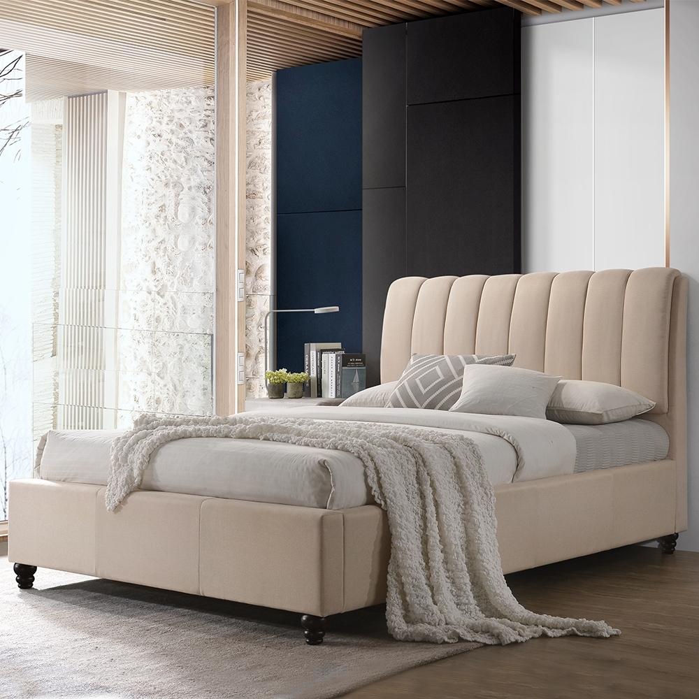 【AT HOME】現代簡約5尺白布雙人床(不含床墊)-蕭邦