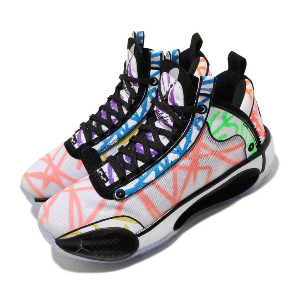 Nike 籃球鞋 Air Jordan XXXIV 女鞋 喬丹 AJ34 避震包覆 多彩素描 大童 彩 白 DA4450100