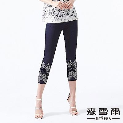 【麥雪爾】棉質花朵鑽飾造型牛仔八分褲