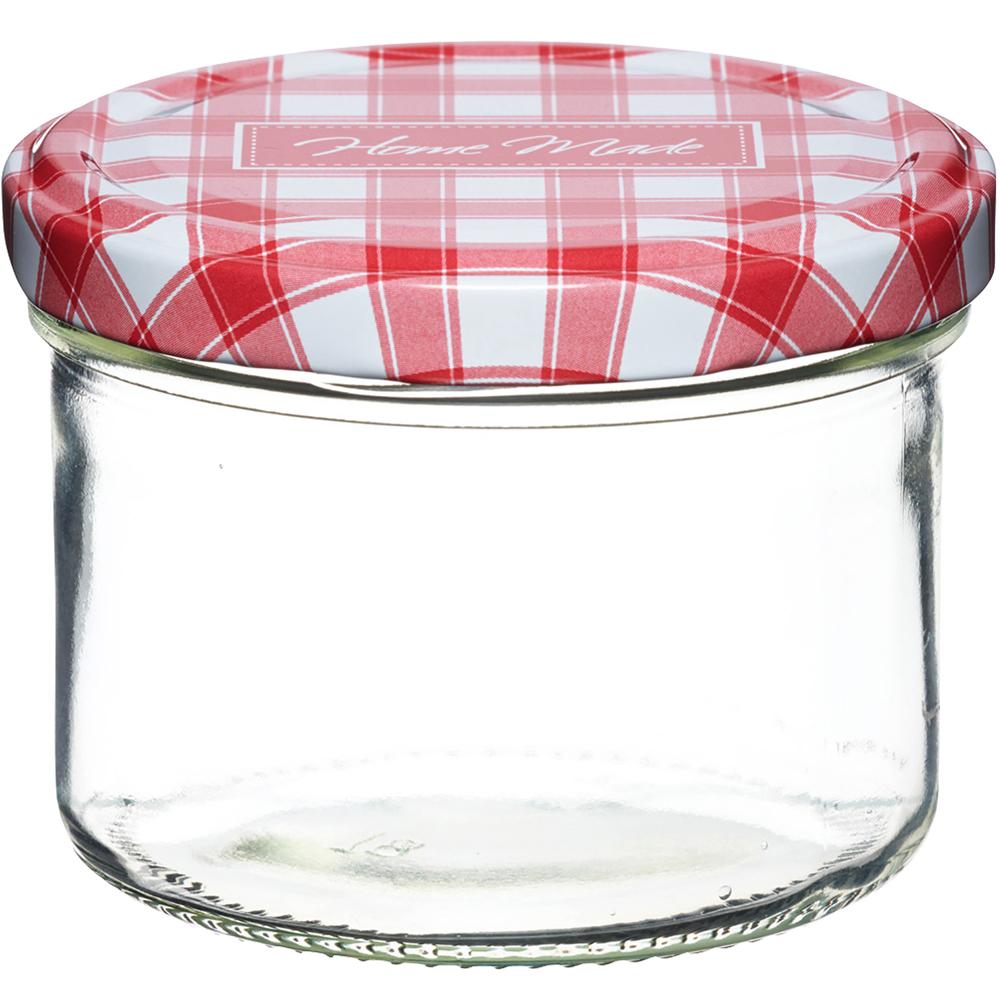 KitchenCraft 旋蓋玻璃密封罐(紅格230ml)