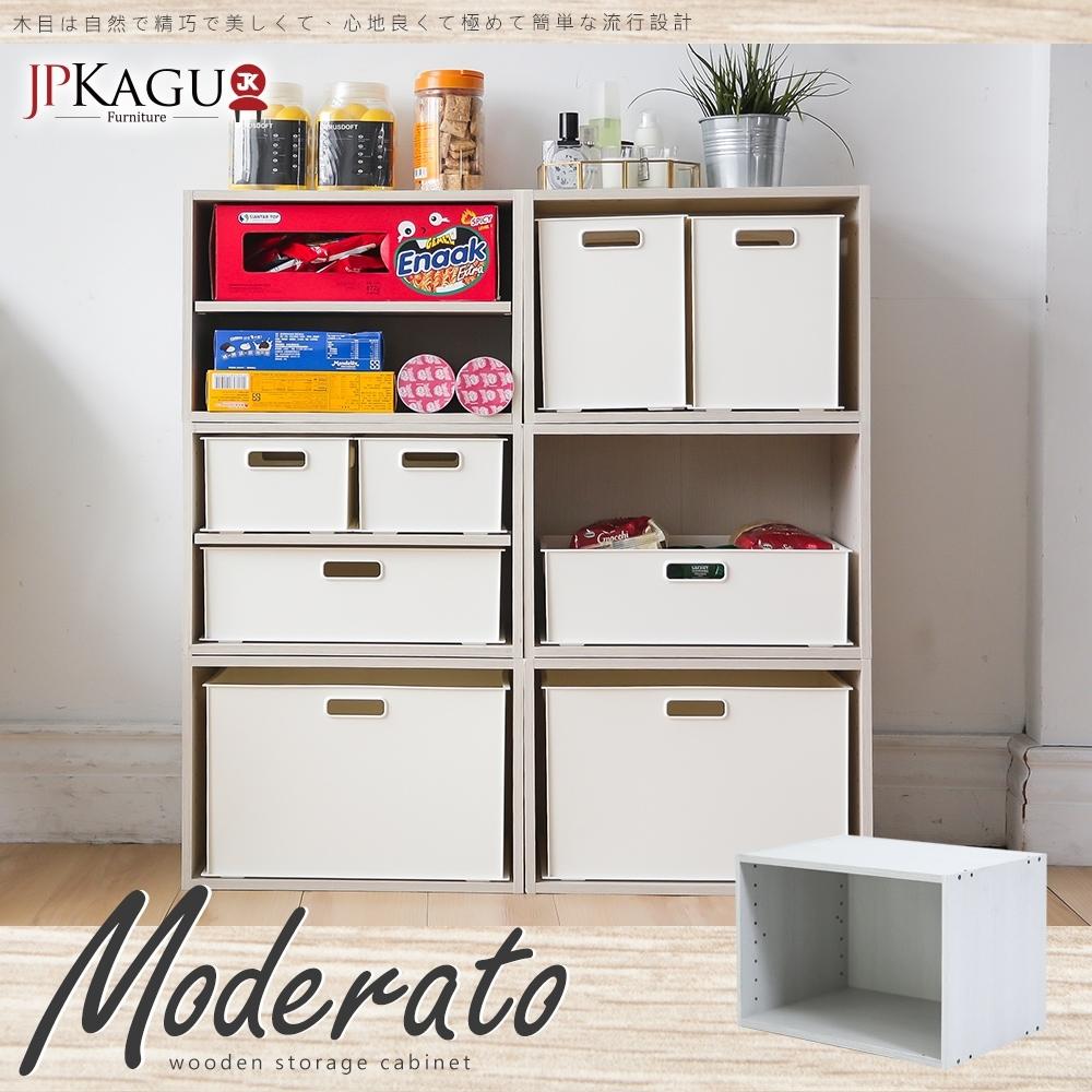 JP Kagu 日式品味DIY木質單格空櫃/收納櫃1入(木紋白)