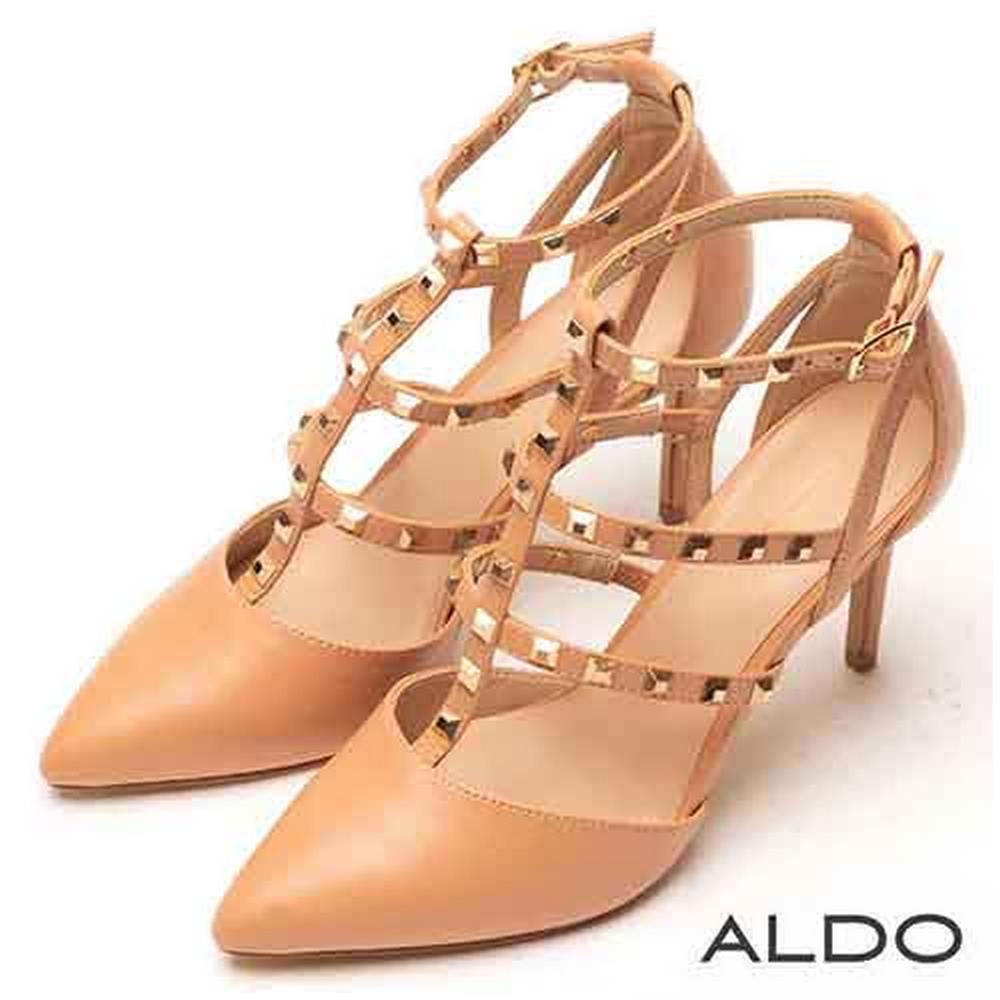 ALDO 原色綴金屬鉚釘尖頭繫帶跟鞋~氣質裸色