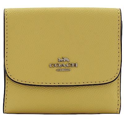 COACH 金屬logo防刮牛皮三折式零錢短夾(黃)
