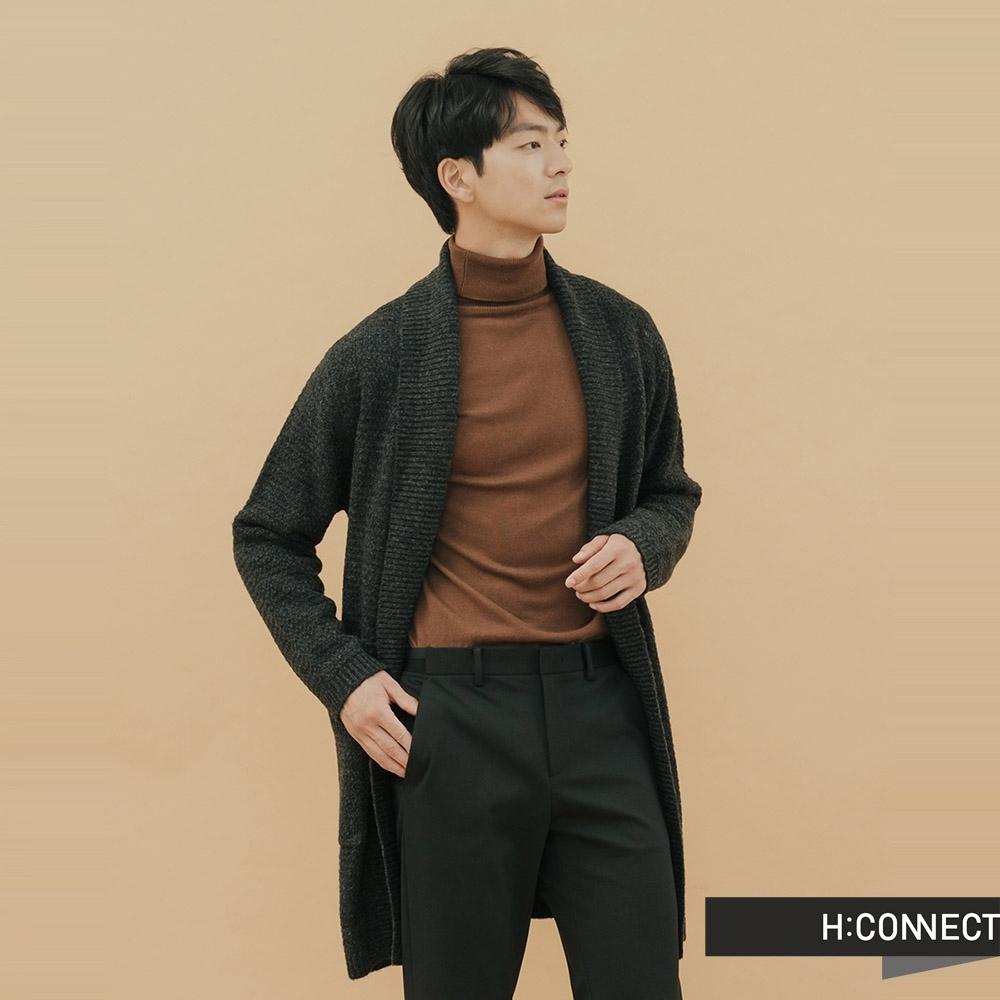 H:CONNECT 韓國品牌 男裝 - 翻領雙口袋針織外套  - 黑